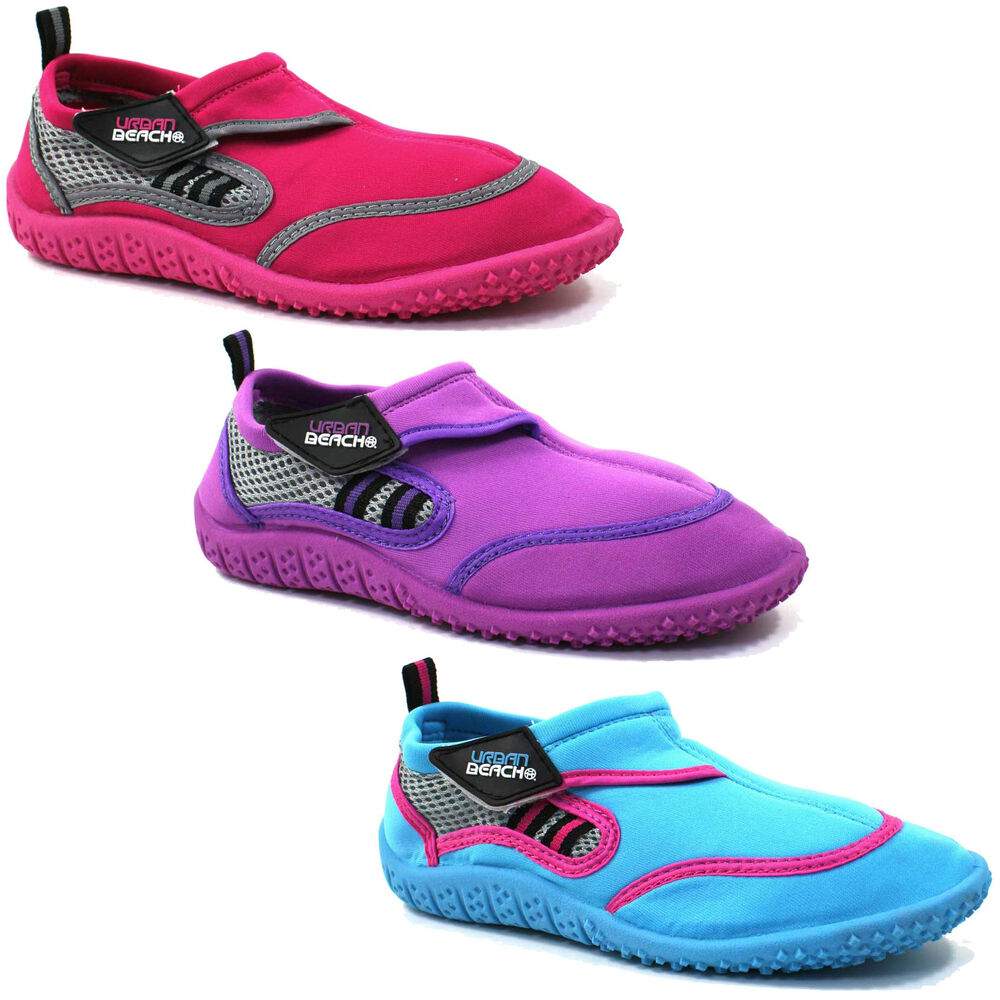 Women's swim shoes are designed to be worn on land and in the water. They are made from materials that won't hold excess water, which means they stay lightweight while submerged, and dry out quickly once you leave the pond, ocean or pool.