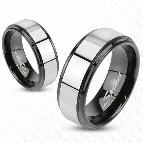 new set of 2 tungsten black silver band rings wedding