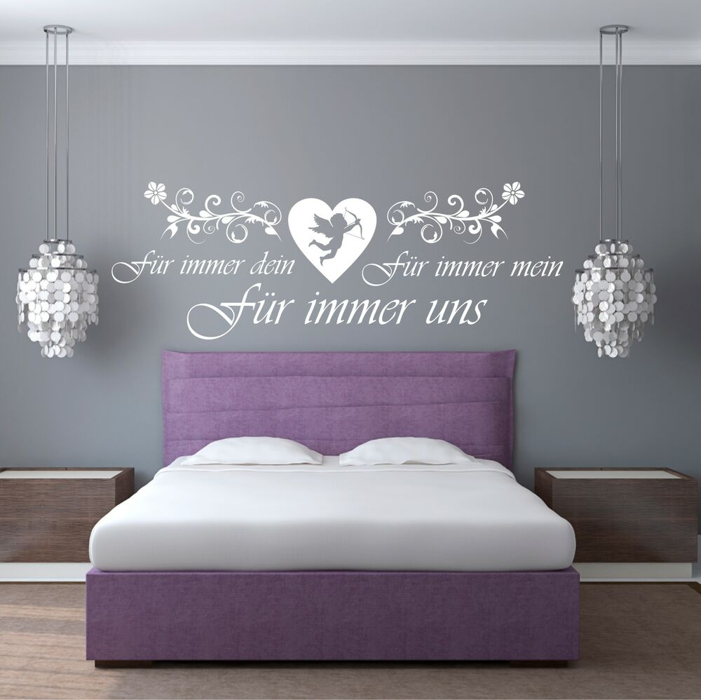 wandtattoo f r immer dein mein uns liebe engel aufkleber. Black Bedroom Furniture Sets. Home Design Ideas