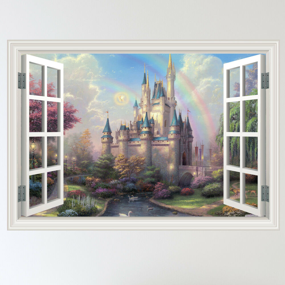Full colour fairy tale castle child 39 s window wall sticker for Door mural stickers