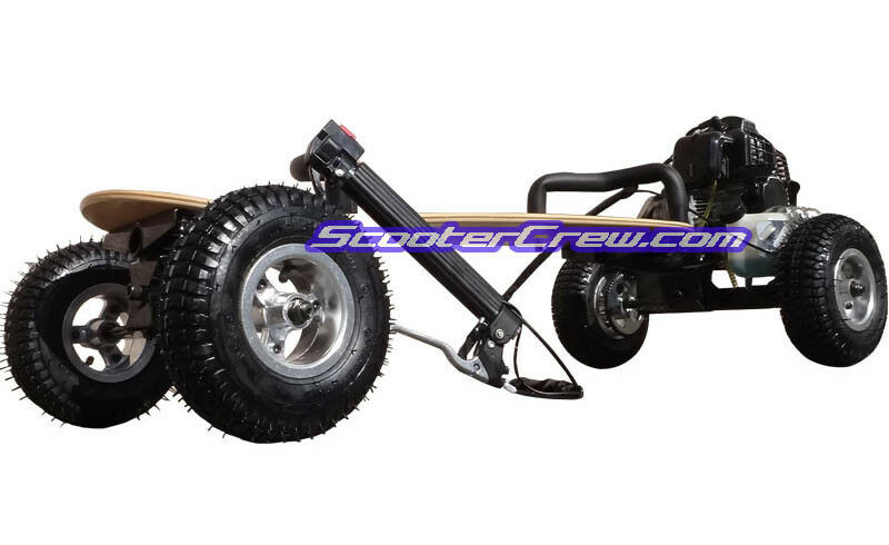 offroad 49cc gas powered skateboard mountain board scooter. Black Bedroom Furniture Sets. Home Design Ideas