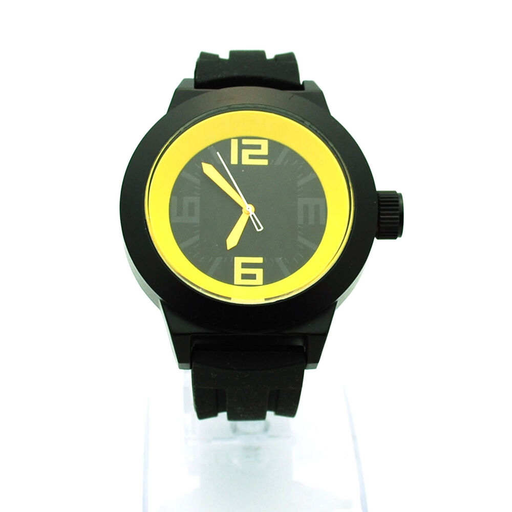 mens modern minimal simple silicone stainless analog