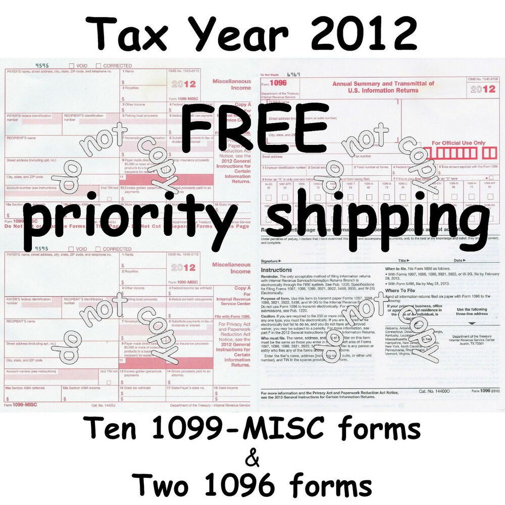 Ten 1099-MISC Miscellaneous Income 2012 IRS Tax Forms & 2 1096 ...