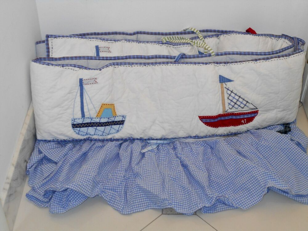 Pottery Barn $148 Nautical Sail Boat Boy Crib Bumper
