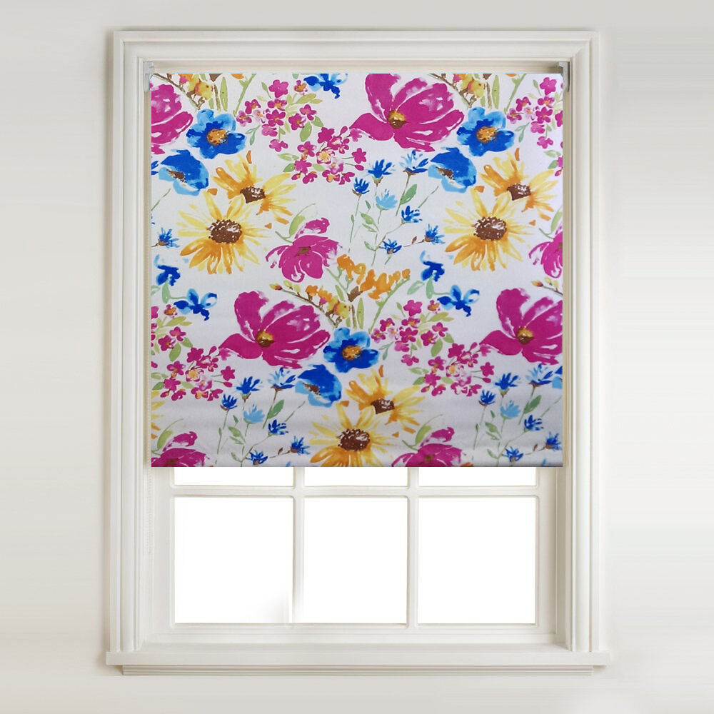 Flower Splash Thermal Blackout Roller Blind Metal