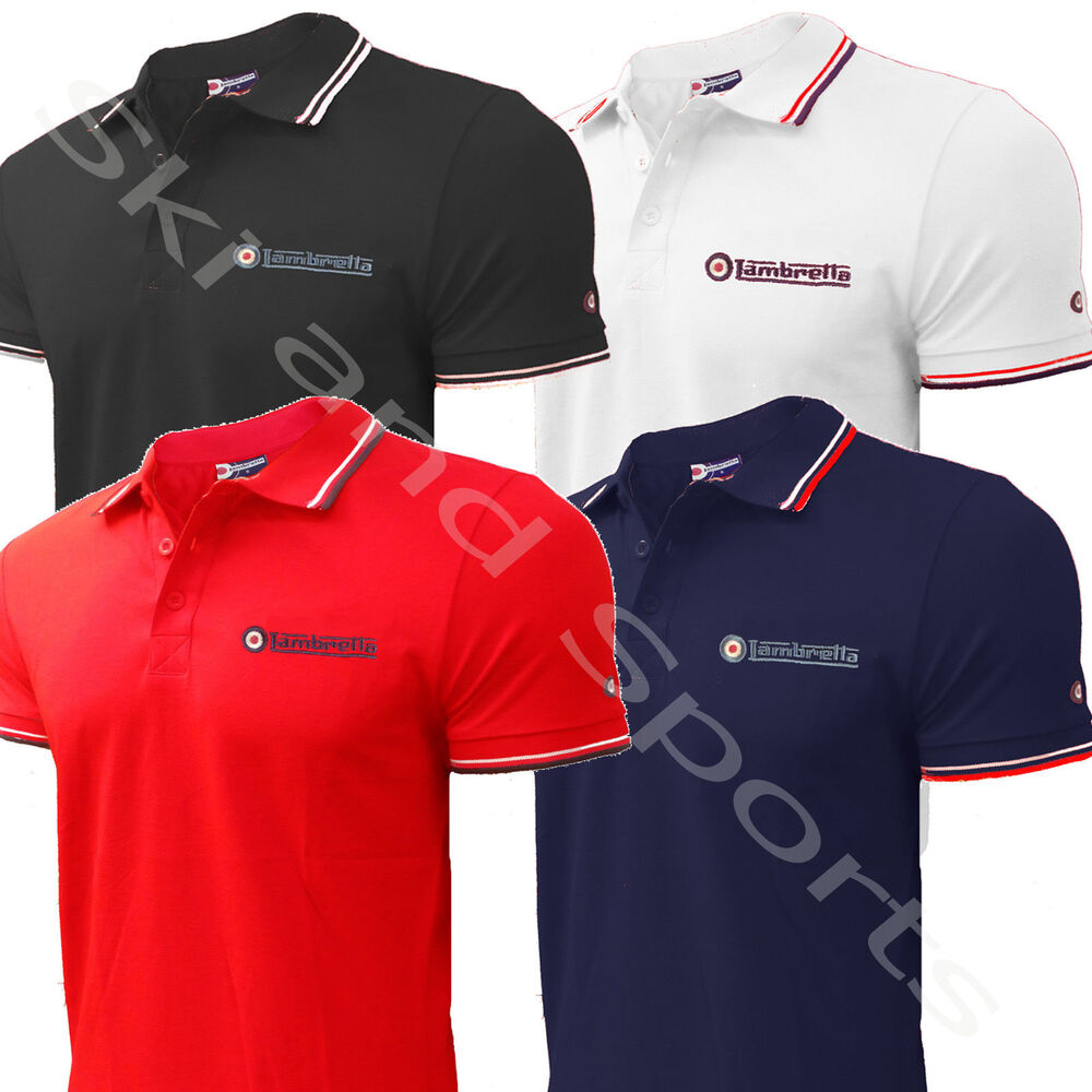 lambretta polo shirt tee t shirt mod mens plain or tipped new carnaby. Black Bedroom Furniture Sets. Home Design Ideas