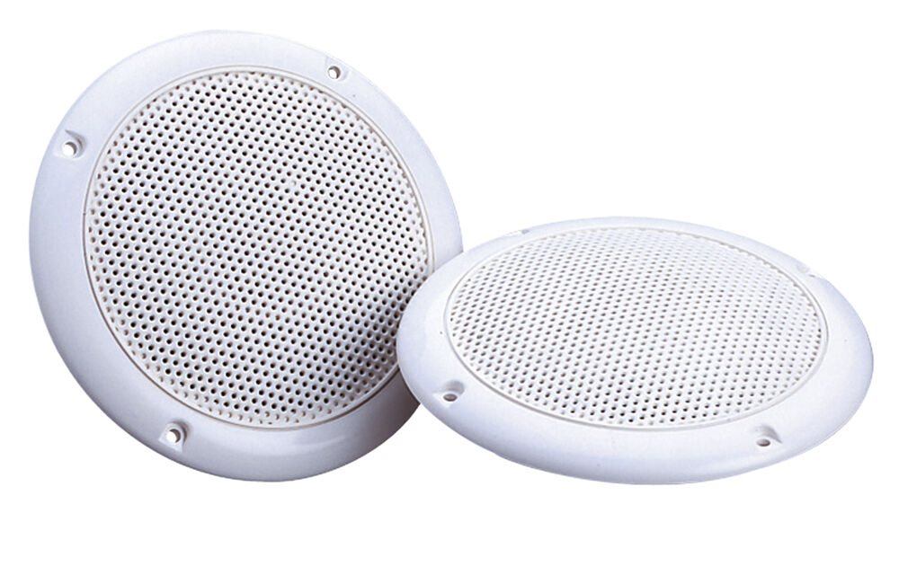 2 x white 5 80w 4 ohm dual cone moisture resistant ceiling speakers bathroom ebay for Ceiling speakers for bathroom