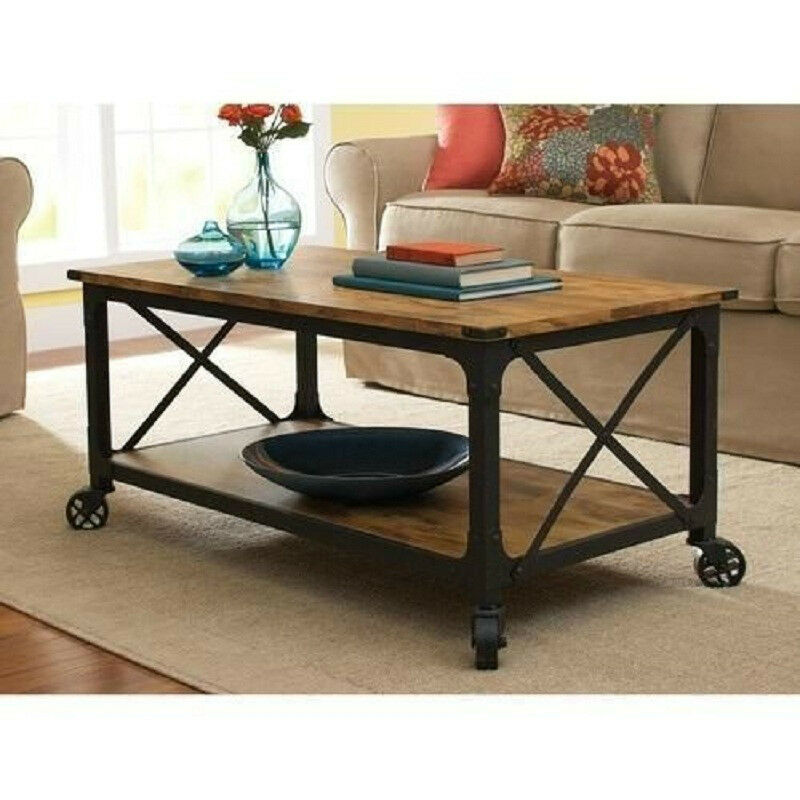 Rustic country black coffee table wood top living room vintage furniture storage ebay Rustic black coffee table