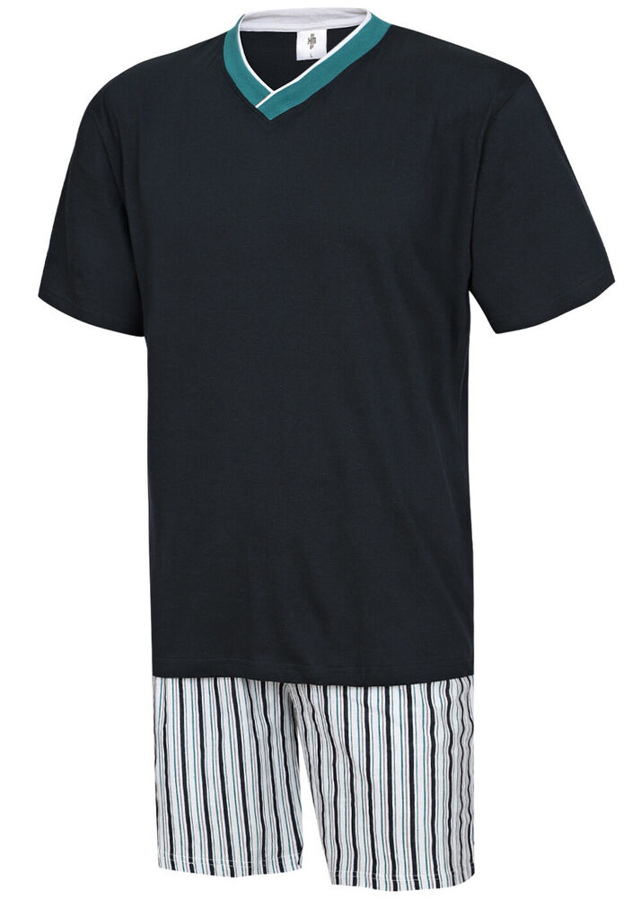 herren pyjama schlafanzug kurz shorty 100 baumwolle m l xl xxl 3xl bergr sse ebay. Black Bedroom Furniture Sets. Home Design Ideas