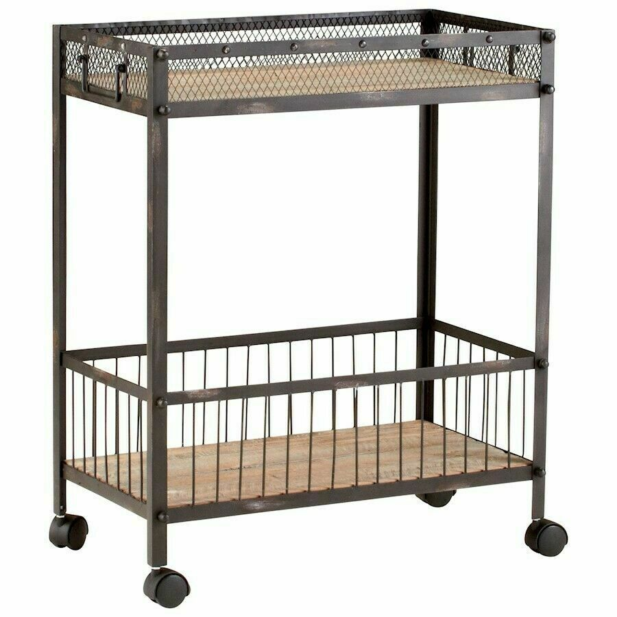Industrial Serving Bar Cart Desmond Rolling Iron Natural