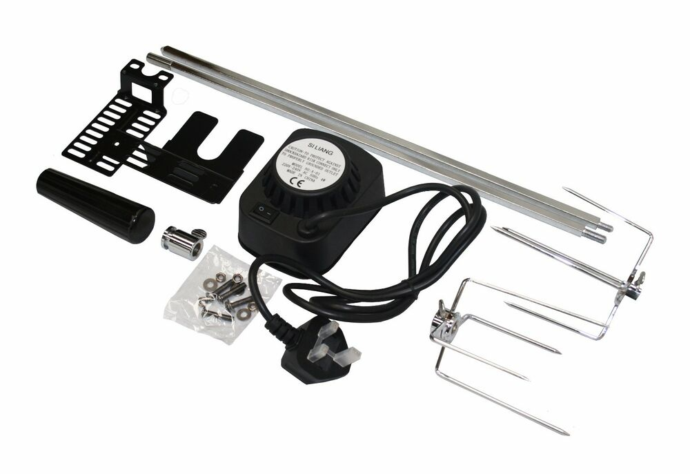 Bbq barbecue rotisserie spit universal kit gas or charcoal for Bbq spit motors electric