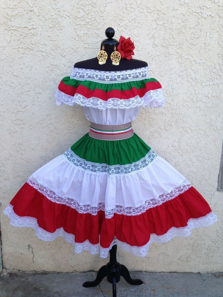 Amazing MEXICAN FIESTA5 DE MAYO DRESS OFF SHOULDER WRUFFLE 2PIECE WSMALL