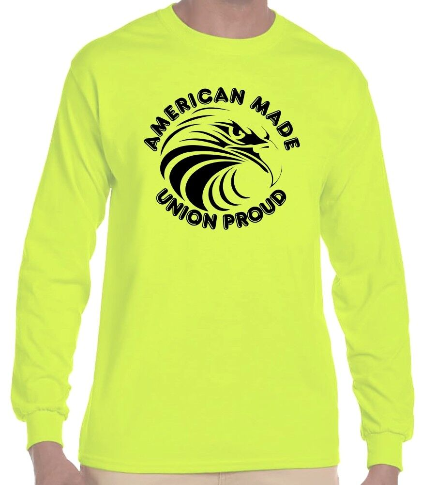 Hi vis safety green construction union proud american for Safety logo t shirts