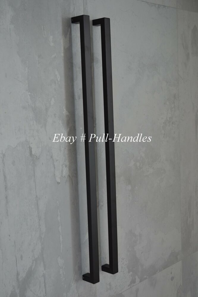 Long Pulls Handles Entry Door Square Matte Black Entrance