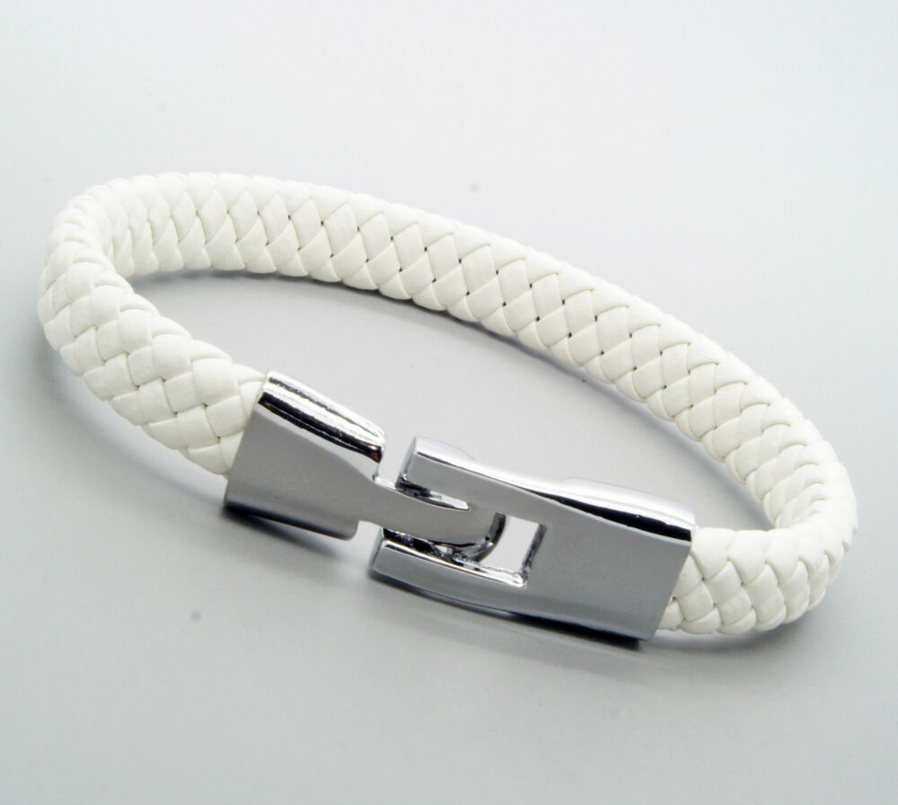 Unisex Genuine Leather Stainless Steel Clasp Bracelet Snap