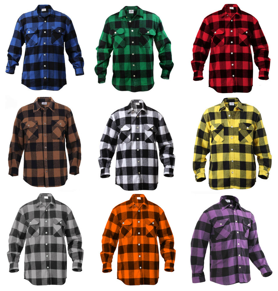 Mens Brawny Buffalo Plaid Flannel Shirt Long Sleeve