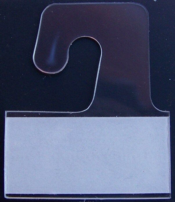 50 Clear Plastic Self Adhesive Stick Hook Hang Tabs Tag