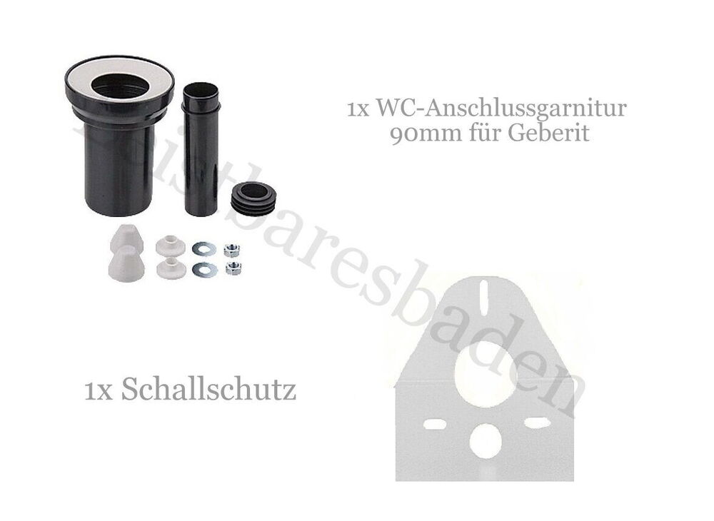wc anschlussgarnitur abflussrohr 90mm f r geberit wc schallschutzset ebay. Black Bedroom Furniture Sets. Home Design Ideas