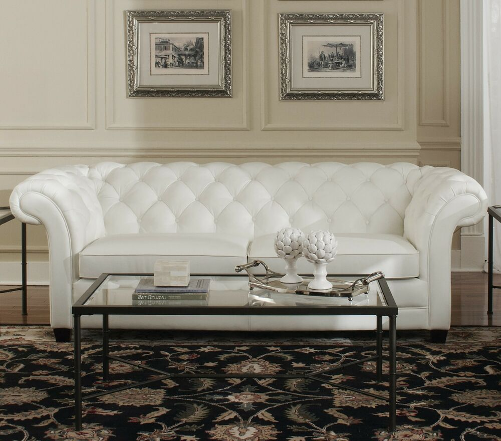 "76"" L Tufted Loveseat Top Grain White Leather Comfortable"