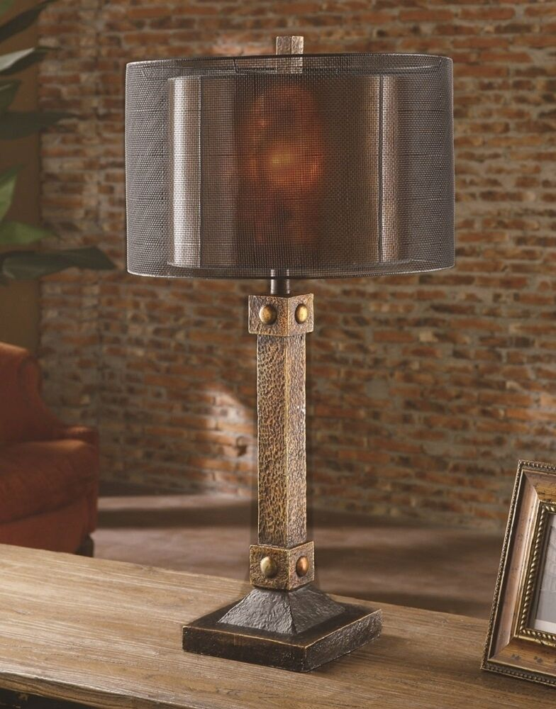 Rustic Montana Old World Table Lamp Unique Double Metal