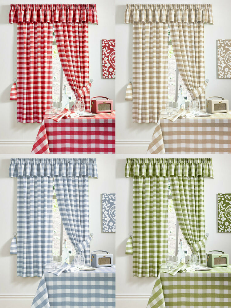 Pair Of Chamonix Gingham Check Kitchen Curtains 3 Tape Top Pencil Pleat Ebay