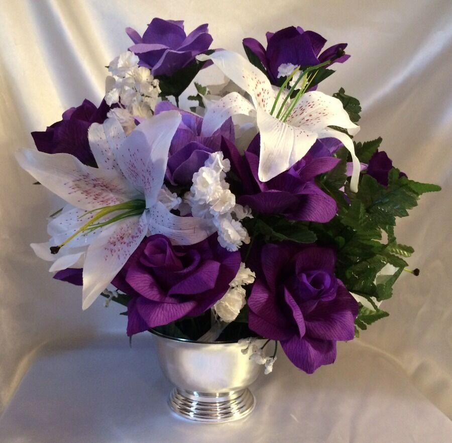 Purple lavender centerpiece silk wedding flower altar