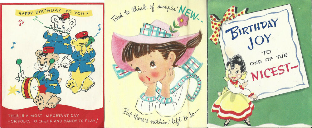 Vintage Birthday Cards 1940 50s Pop Up Hallmark Usa Mixed
