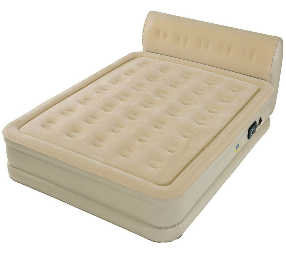 Queen Size Inflatable Air Mattress Raised Bed Built In Pump Serta Headboard Ebay