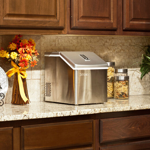 Countertop Ice Maker Clear Ice : Portable Clear Cube Ice Maker - Compact Countertop Small Stainless ...