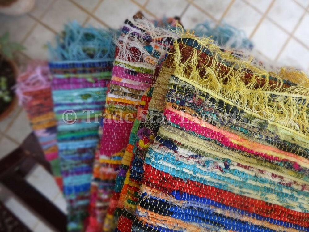 Lot Of 5 Handmade Vintage Rag Rugs Hand Woven Chindi