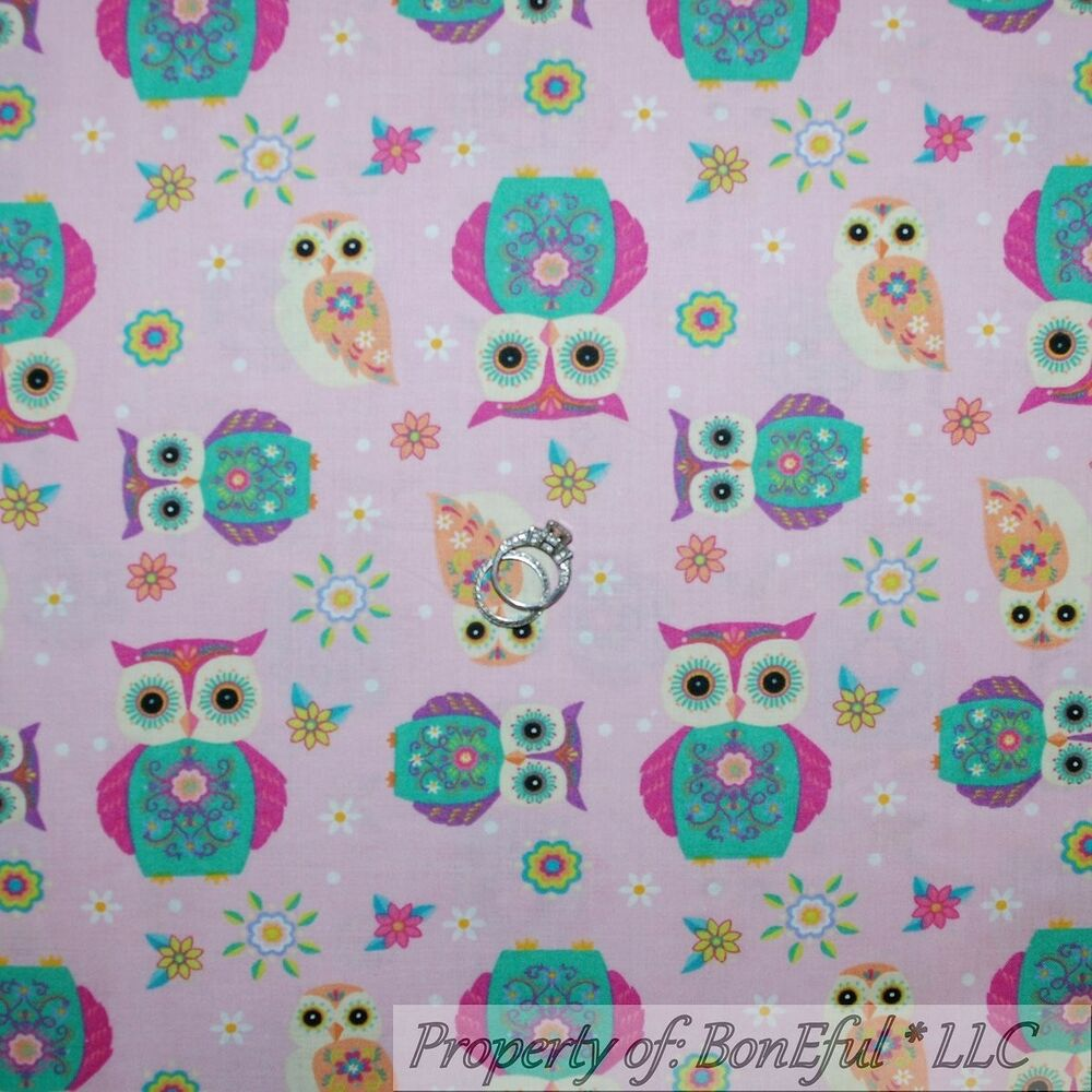 BonEful Fabric FQ Cotton Quilt Pink Aqua Blue White OWL ...