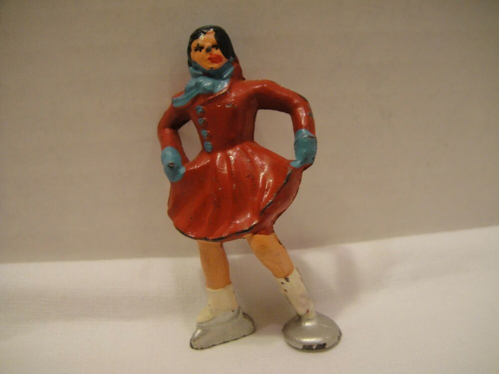 Girl Toy Figures : Vintage lead toy figure girl on ice skates winter series