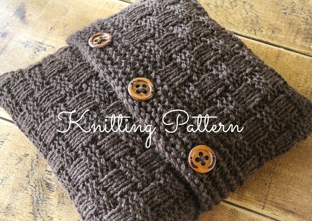 Knitted Slippers Free Patterns : KNITTING PATTERN - Super Chunky Basketweave Cushion Cover - Quick & Easy ...