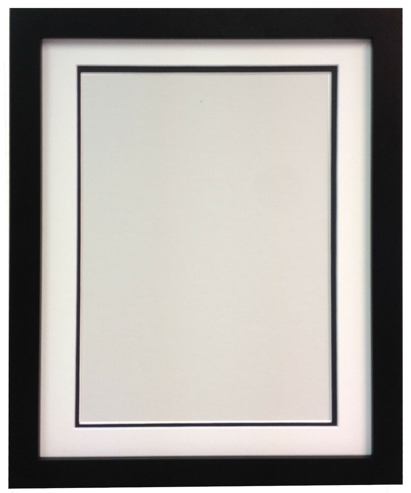 a9a093b7980f H7 Black MDF Picture Photo Frames With Black White Ivory Double Bevel Mounts