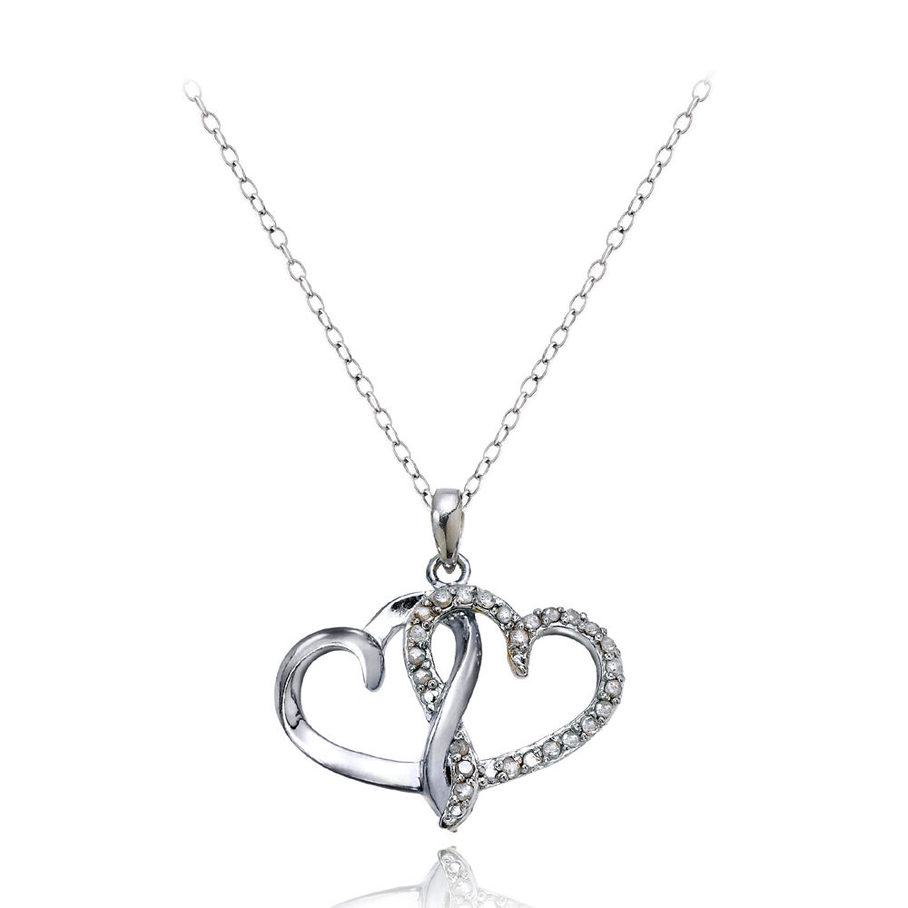 Sterling Silver 1 4ct Diamond Double Hearts Necklace Ebay