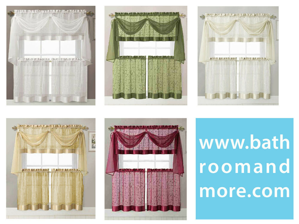 Embroidered kitchen window curtain set 1 valance with for Kitchen window curtains