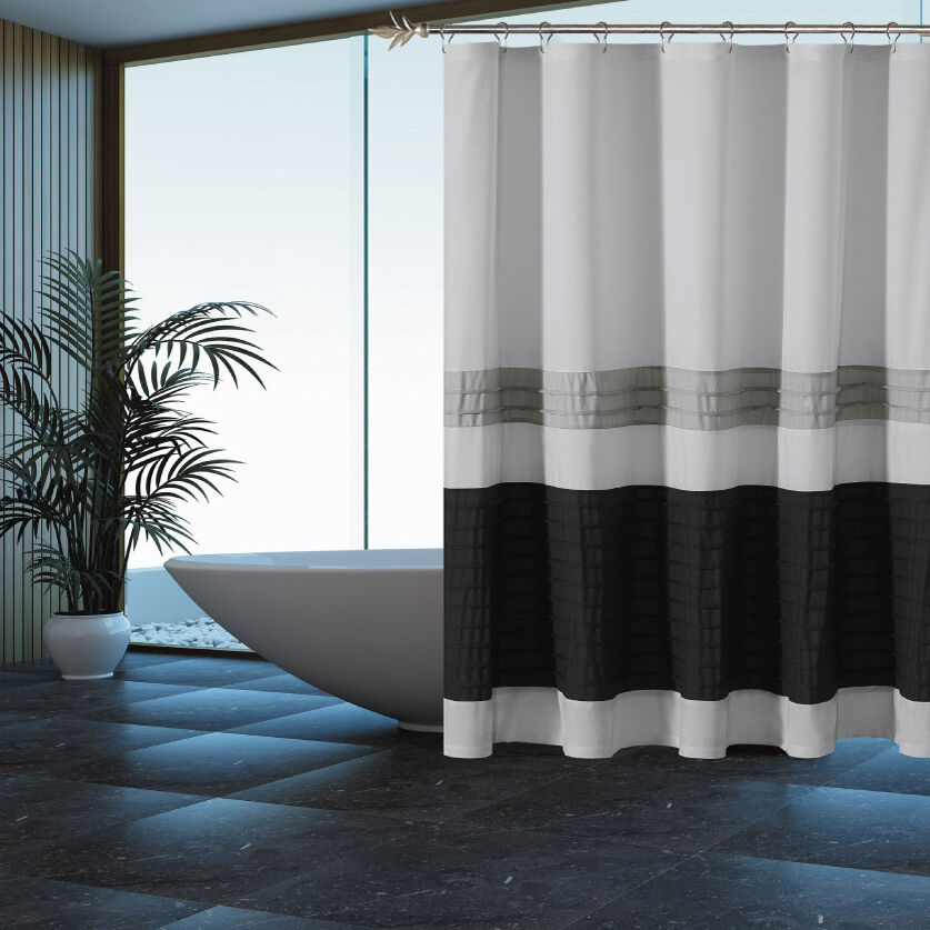 gray shower curtain with pleated silver and black pintuck. Black Bedroom Furniture Sets. Home Design Ideas