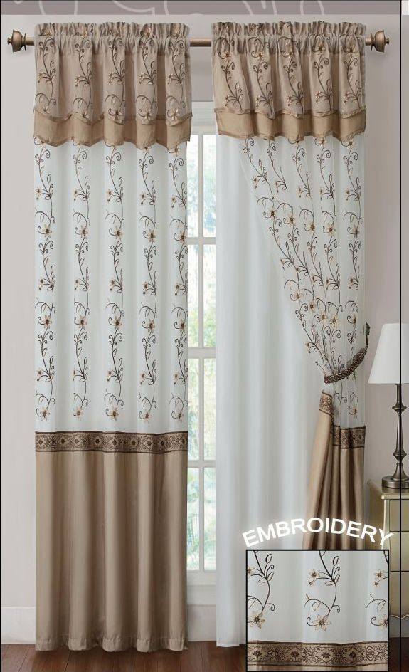 "Window Curtain Drapery Panel w/ Attached Backing and Valance 57""x90 ..."
