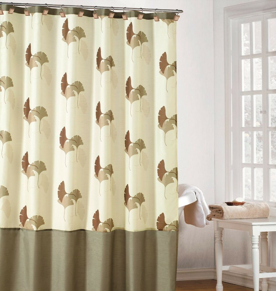 Earthy Cream Color Fabric Shower Curtain With Brown And