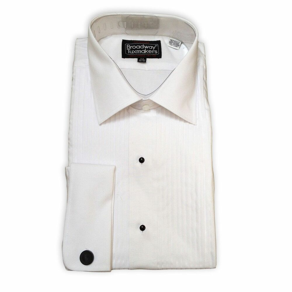 Mens 100 cotton tuxedo shirt white pleated lay down 100 cotton tuxedo shirt