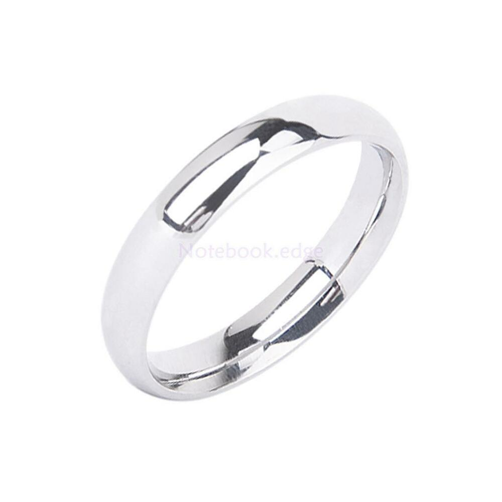 Solid Silver Stainless Steel Plain Wedding Band Ring