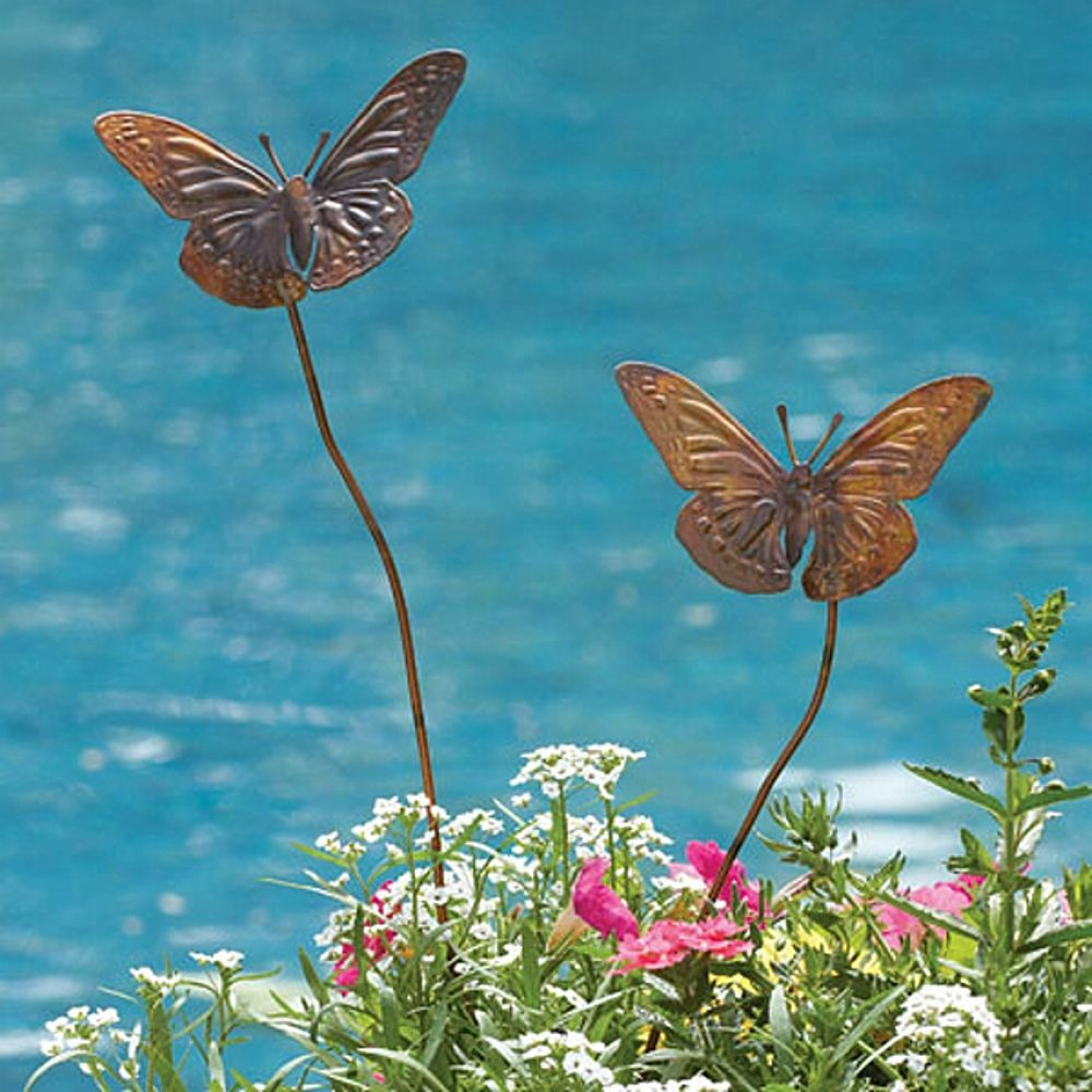 butterfly duo short garden plant stake butterflies copper. Black Bedroom Furniture Sets. Home Design Ideas
