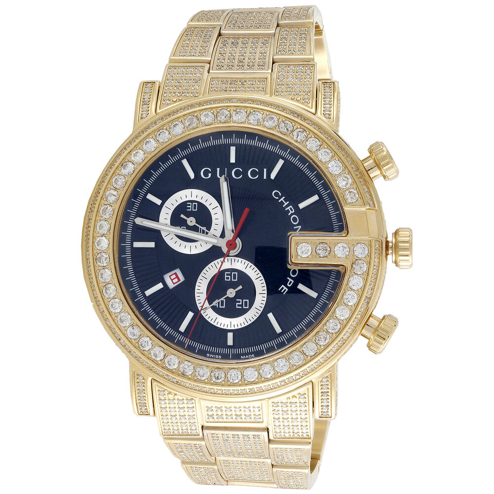 Diamond Gucci Ya101334 Watch 9.50 Ct New Custom Mens 101 G ...