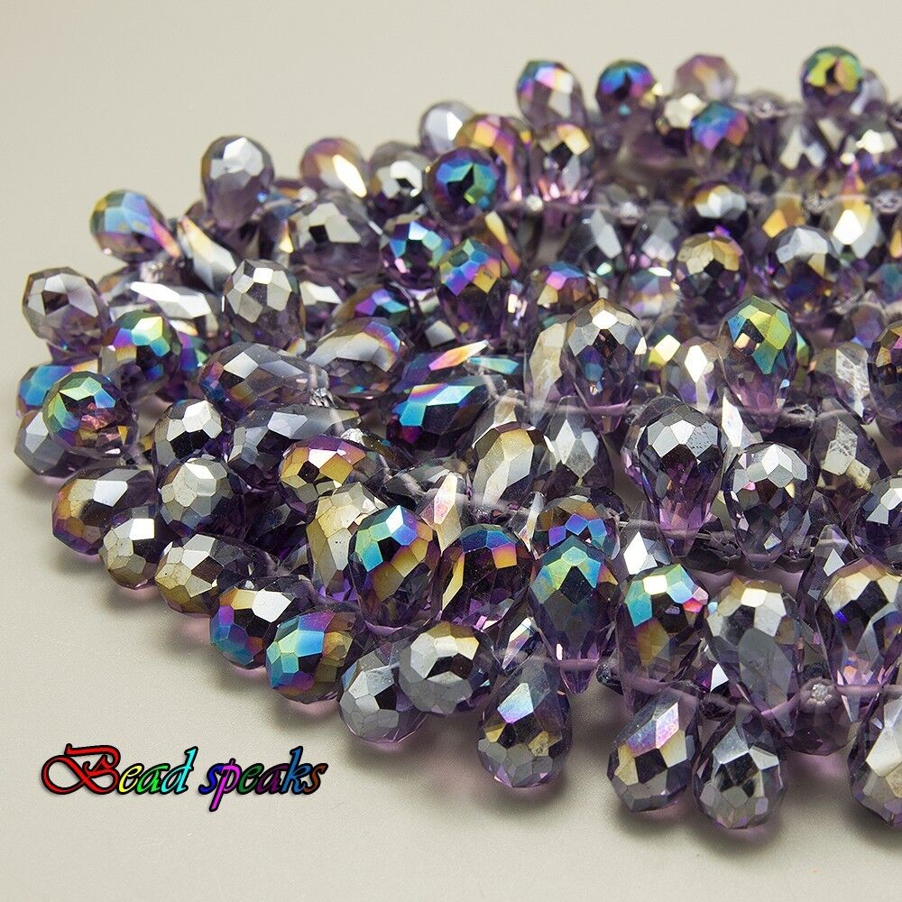 Teardrop Beads: 30 Pcs AB Violet Top-drilled Faceted Teardrop Glass