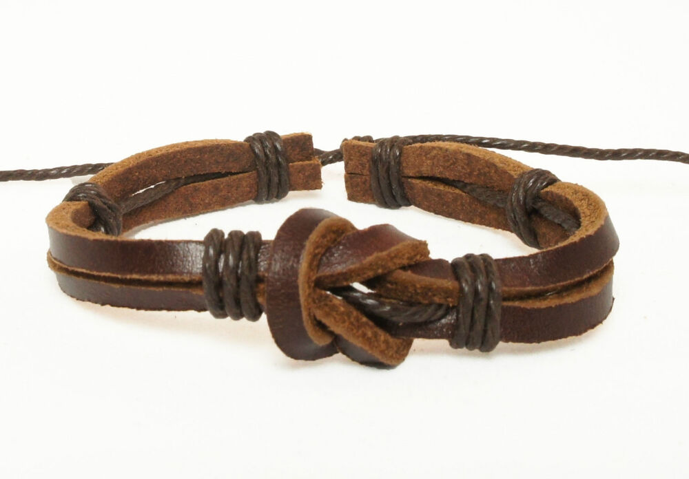 Handmade Unisex Men Women's Genuine Leather Bracelet Brown ...