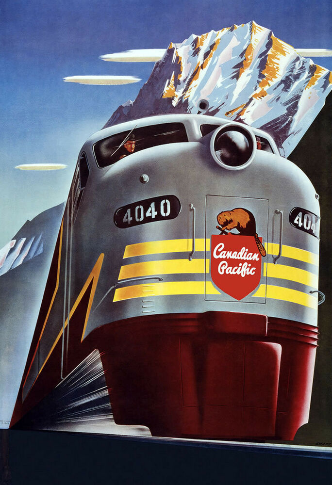 Vintage train poster art deco canadian pacific railway for Vintage train posters