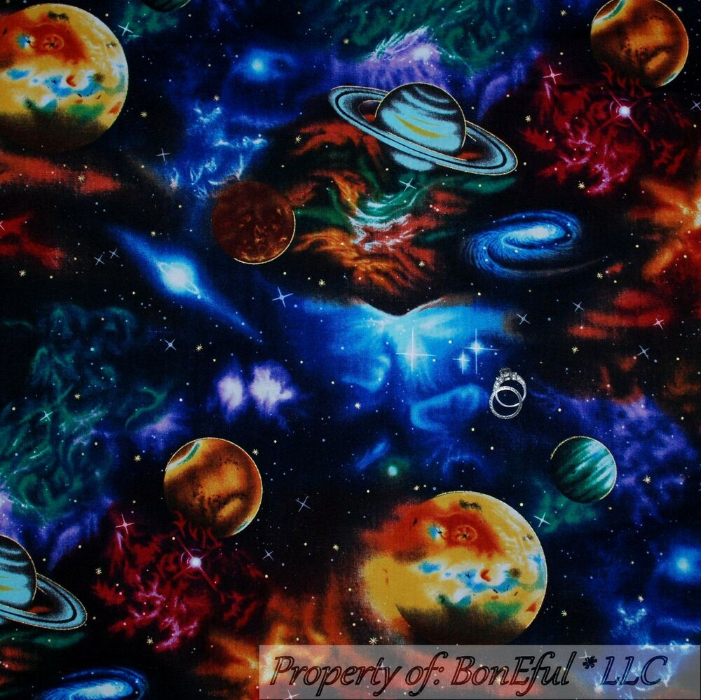 Boneful fabric fq cotton quilt planet space star war s for Red space fabric