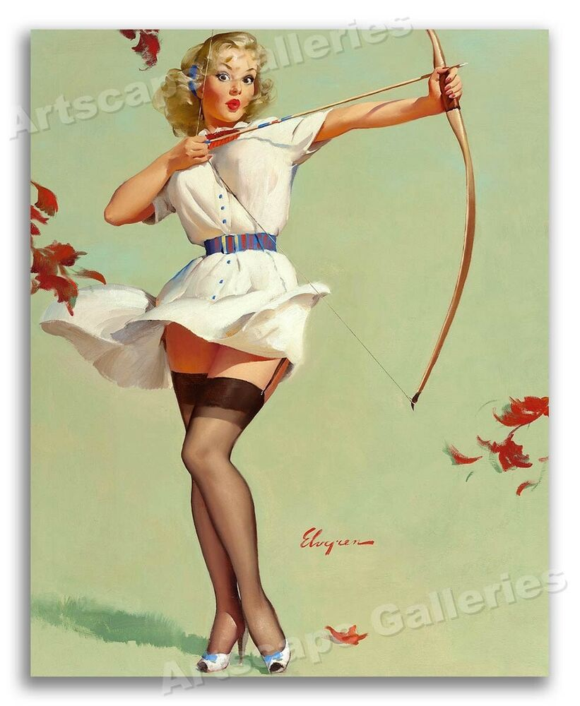 1950 39 s elvgren pin up sexy blonde archery poster aiming high 24x30 ebay. Black Bedroom Furniture Sets. Home Design Ideas