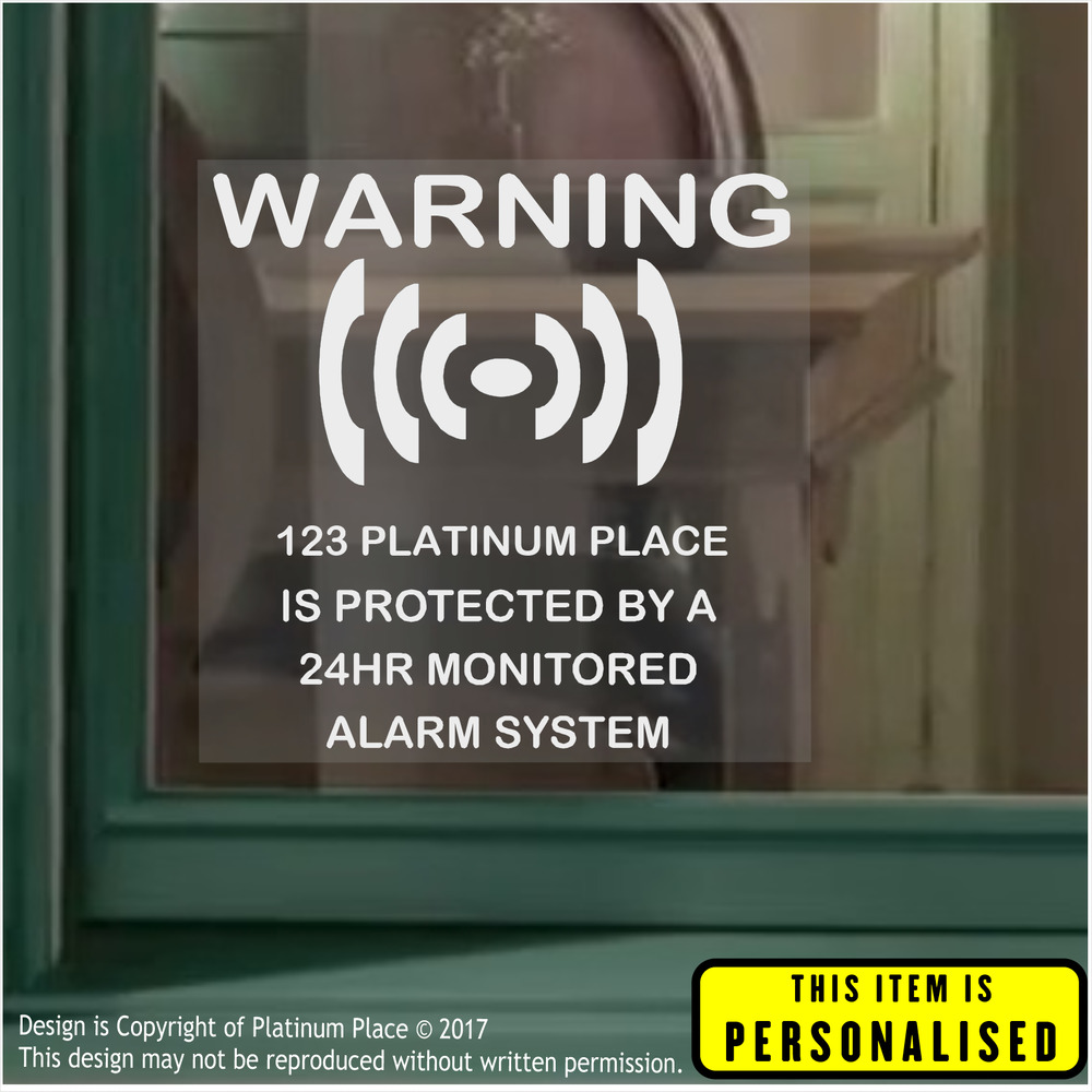4 x personalised 24hr security alarm window stickers warning signs homebusiness ebay