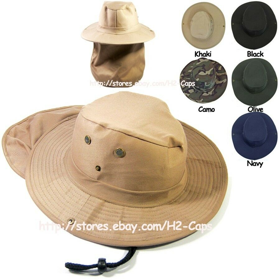 Boonie hat for fishing hiking neck flap cover bucket for Fishing hats sun protection